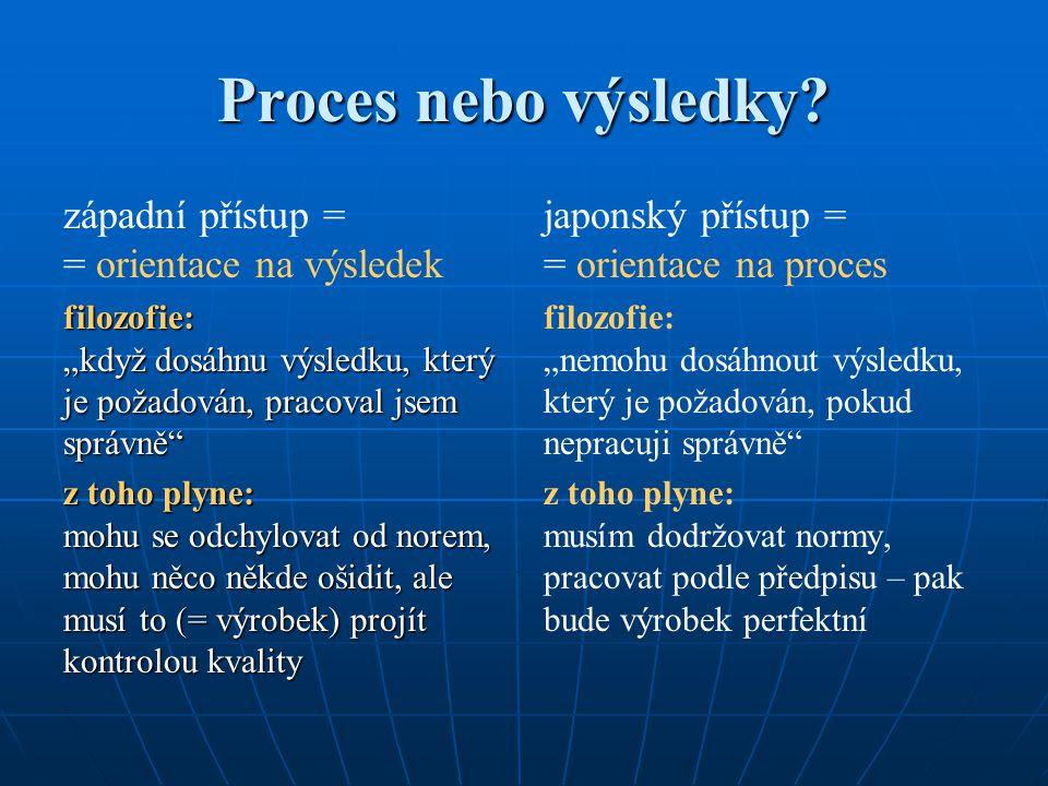 """Proces nebo výsledky? západní přístup = = orientace na výsledek filozofie: """"když dosáhnu výsledku, který je požadován, pracoval jsem správně"""" z toho p"""