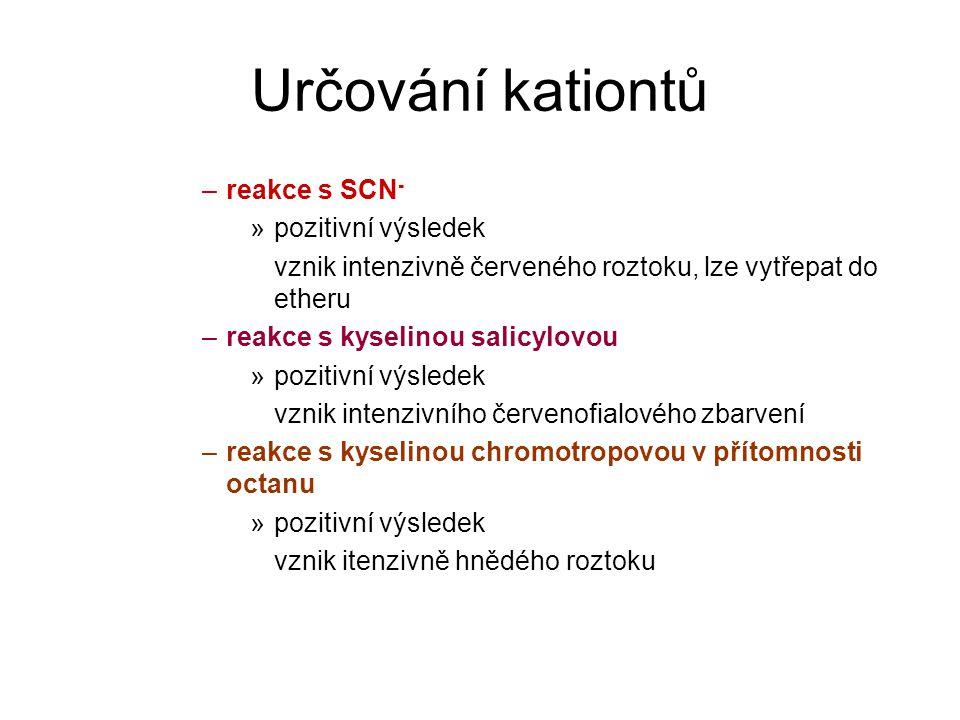 Určování kationtů –reakce s SCN - »pozitivní výsledek vznik intenzivně červeného roztoku, lze vytřepat do etheru –reakce s kyselinou salicylovou »pozitivní výsledek vznik intenzivního červenofialového zbarvení –reakce s kyselinou chromotropovou v přítomnosti octanu »pozitivní výsledek vznik itenzivně hnědého roztoku