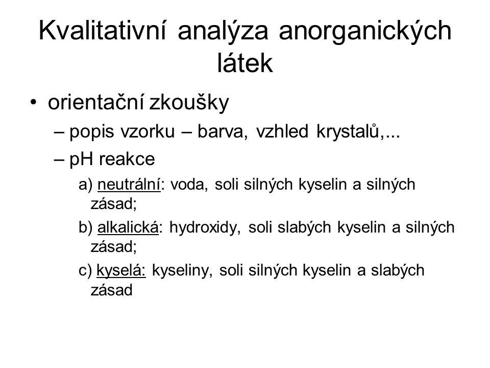 Kvalitativní analýza anorganických látek orientační zkoušky –popis vzorku – barva, vzhled krystalů,...