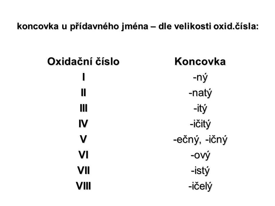 koncovka u přídavného jména – dle velikosti oxid.čísla: Oxidační číslo Koncovka I-ný II-natý III-itý IV-ičitý V -ečný, -ičný VI-ový VII-istý VIII-ičel