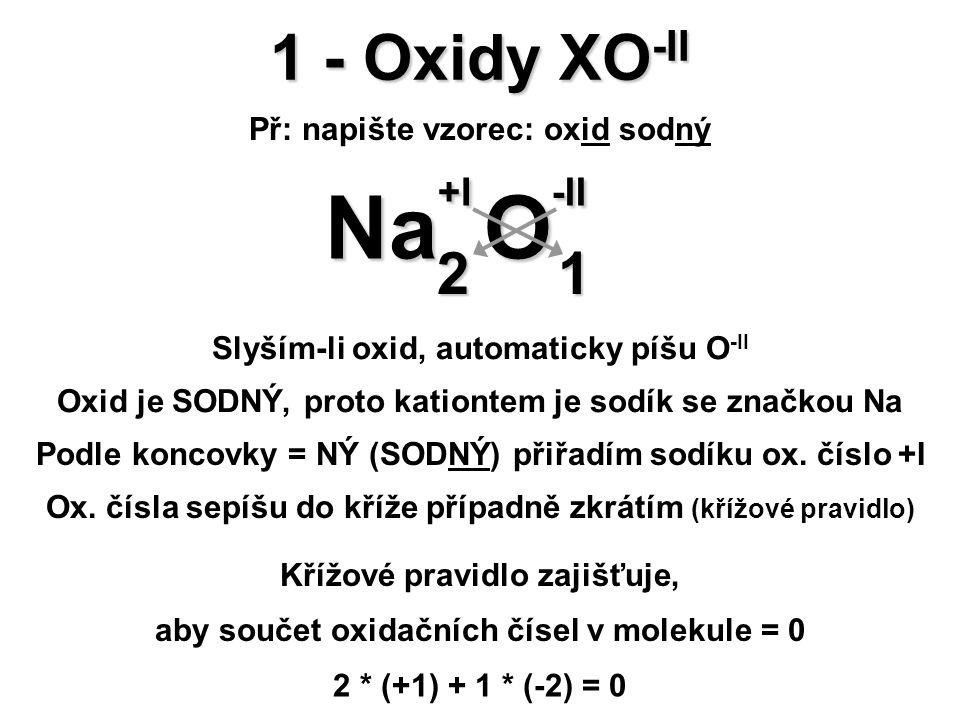 1 - Oxidy XO -II Př: napište vzorec: oxid sodný O -II O -II Na +I Na +I 21 Křížové pravidlo zajišťuje, aby součet oxidačních čísel v molekule = 0 2 * (+1) + 1 * (-2) = 0 Slyším-li oxid, automaticky píšu O -II Oxid je SODNÝ, proto kationtem je sodík se značkou Na Podle koncovky = NÝ (SODNÝ) přiřadím sodíku ox.