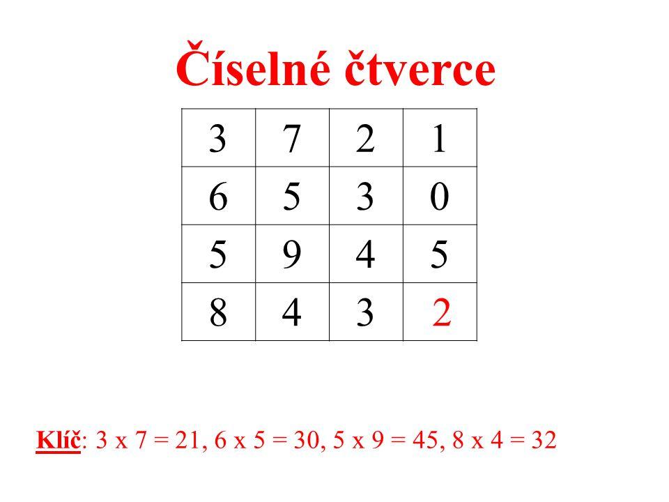 6576 8427 4214 842 0 Klíč: 6 x 8 = 48, 5 x 4 = 20, 7 x 2 = 14, 6 x 7 = 42