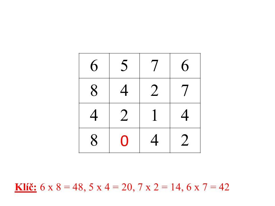2739 366 2847 1628 6 Klíč: 9 x 3 = 27, 6 x 6 = 36, 7 x 4 = 28, 8 x 2 = 16
