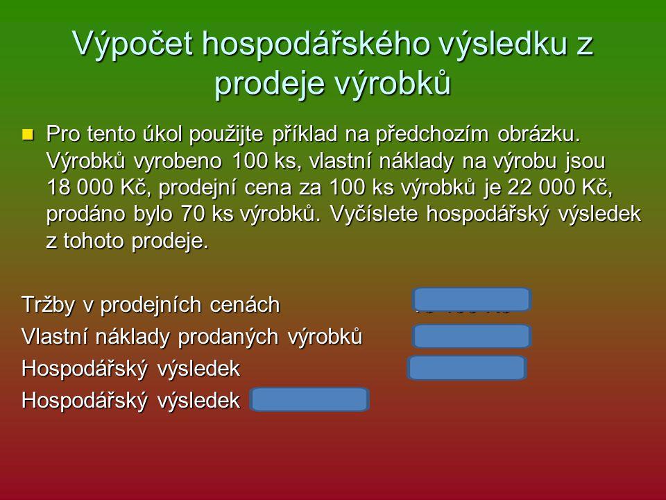 Výpočet hospodářského výsledku z prodeje výrobků Pro tento úkol použijte příklad na předchozím obrázku.