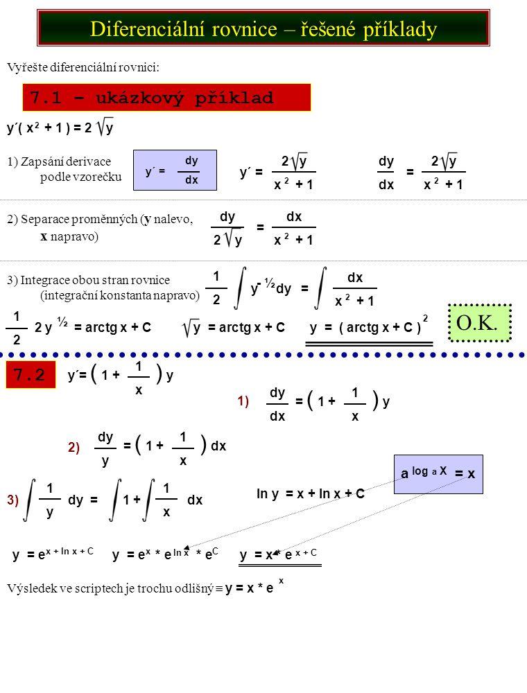 7.5 7.6 Vyřešte diferenciální rovnici s podmínkou: y´ * e = 2x + 2 y (1) = 0 y = dy dx 2x + 2 e y e dy = 2 ( x + 1 ) dx y e dy = 2 x + 1 dx y e = 2 ( + x) y x2x2 2 e = x + 2x + C y2 y = ln ( x + 2x + C) 2 1) Zapsání derivace podle vzorečku 2) Převedení y na levou a x na pravou stranu rovnice a doplnění integračních znaků 3) Řešení integrálů na obou stranách 4) Doplnění integrační konstanty 5) Vyjádření y 6) Dosazení podmínky do vzorce a výpočet hodnoty integrační konstanty 0 = ln ( 1 + 2 * 1 + C)  0 = ln ( 3 + C )  1 = 3 + C  C = -2 2 7) Dosazení integrační konstanty a vyjádření výsledku y = ln ( x + 2x – 2 ) 2 O.K.