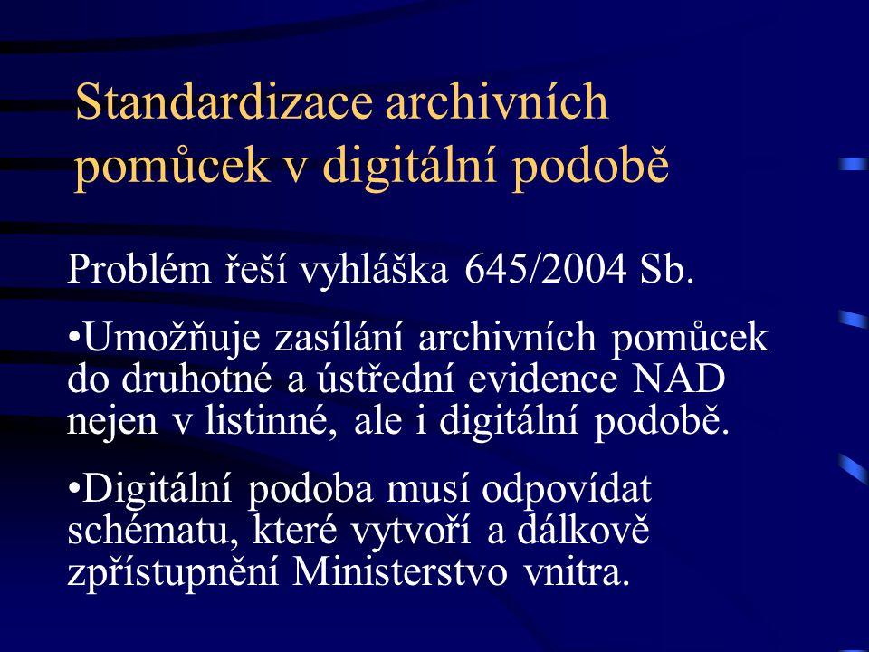 Standardizace archivních pomůcek v digitální podobě Problém řeší vyhláška 645/2004 Sb. Umožňuje zasílání archivních pomůcek do druhotné a ústřední evi
