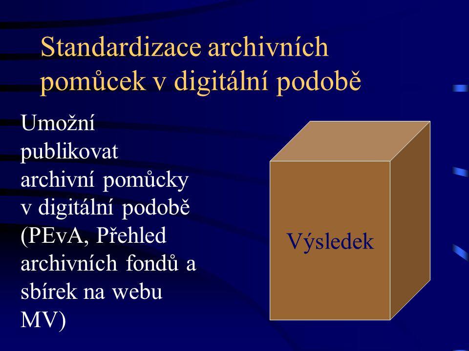 Standardizace archivních pomůcek v digitální podobě Umožní publikovat archivní pomůcky v digitální podobě (PEvA, Přehled archivních fondů a sbírek na