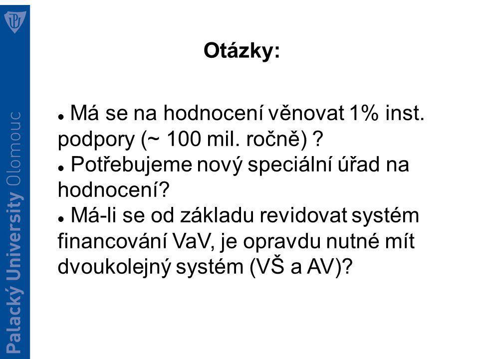 Otázky: Má se na hodnocení věnovat 1% inst. podpory (~ 100 mil.