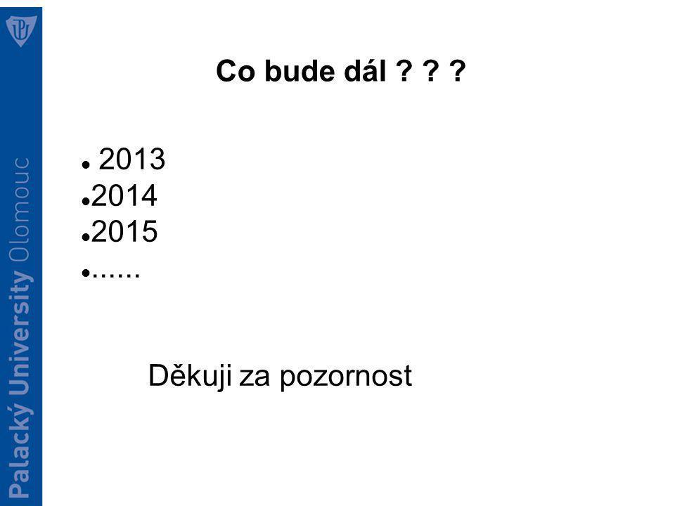 Co bude dál ? ? ? 2013 2014 2015...... Děkuji za pozornost