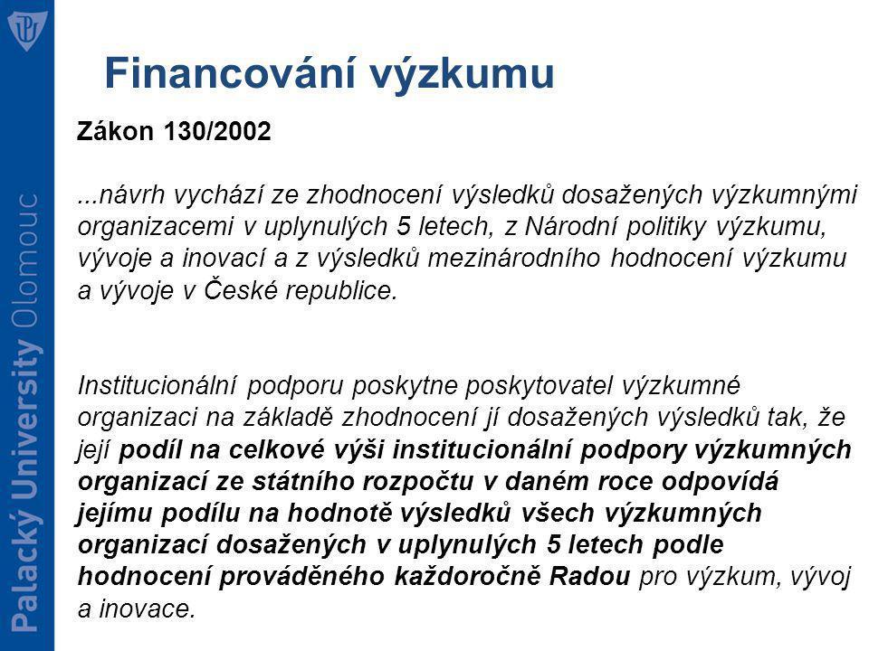 Financování výzkumu Zákon 130/2002...návrh vychází ze zhodnocení výsledků dosažených výzkumnými organizacemi v uplynulých 5 letech, z Národní politiky výzkumu, vývoje a inovací a z výsledků mezinárodního hodnocení výzkumu a vývoje v České republice.