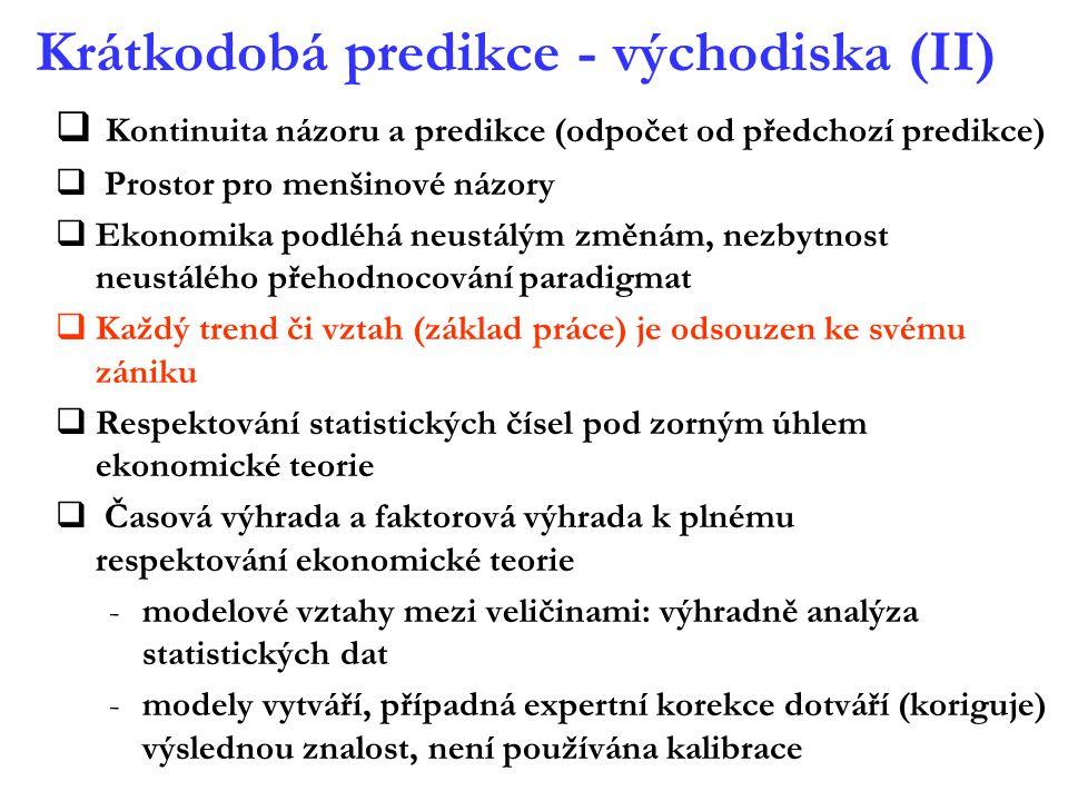 Krátkodobá predikce - východiska (II)  Kontinuita názoru a predikce (odpočet od předchozí predikce)  Prostor pro menšinové názory  Ekonomika podléh