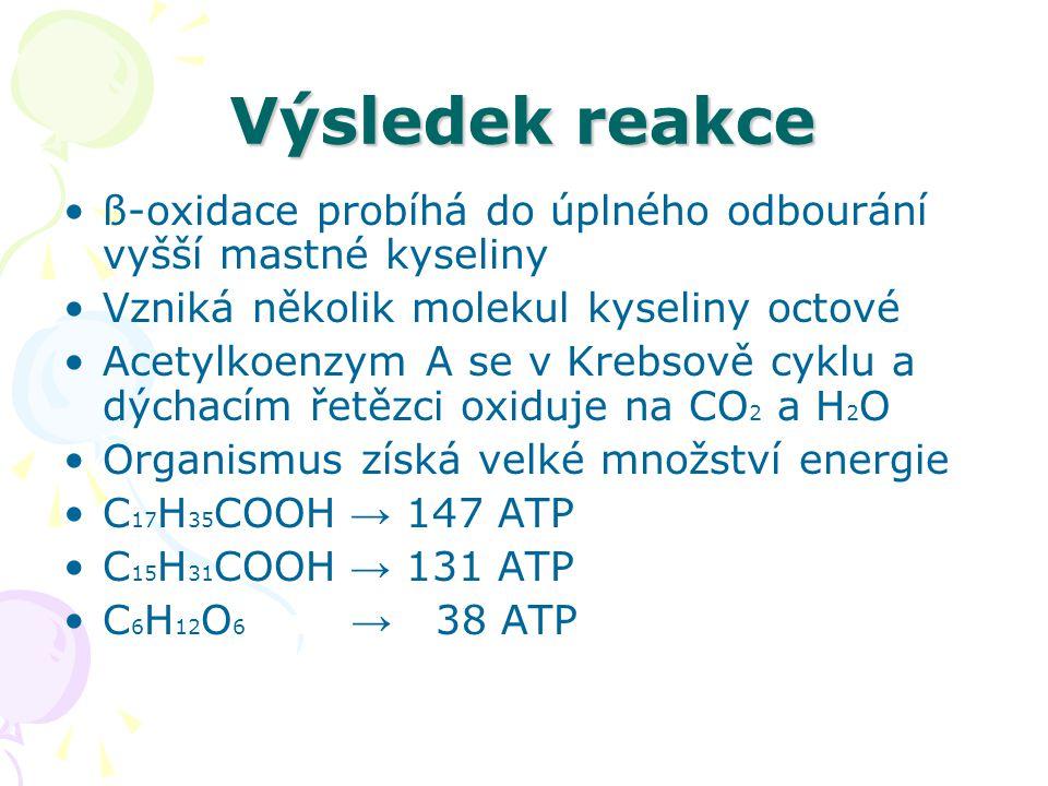 Výsledek reakce ß-oxidace probíhá do úplného odbourání vyšší mastné kyseliny Vzniká několik molekul kyseliny octové Acetylkoenzym A se v Krebsově cykl