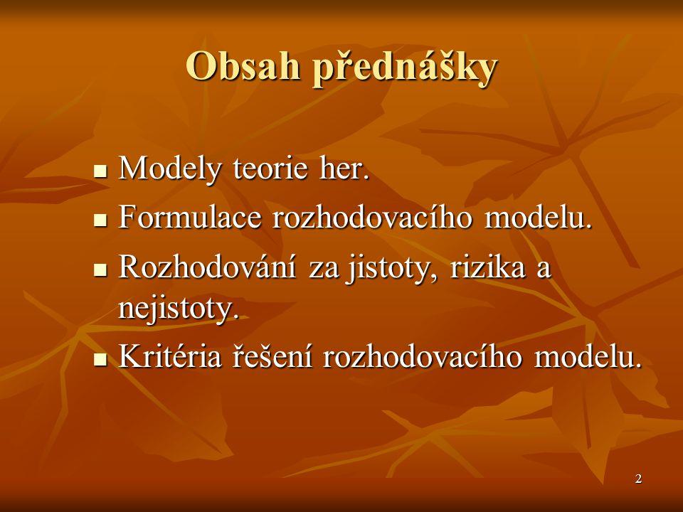 2 Obsah přednášky Modely teorie her.Modely teorie her.