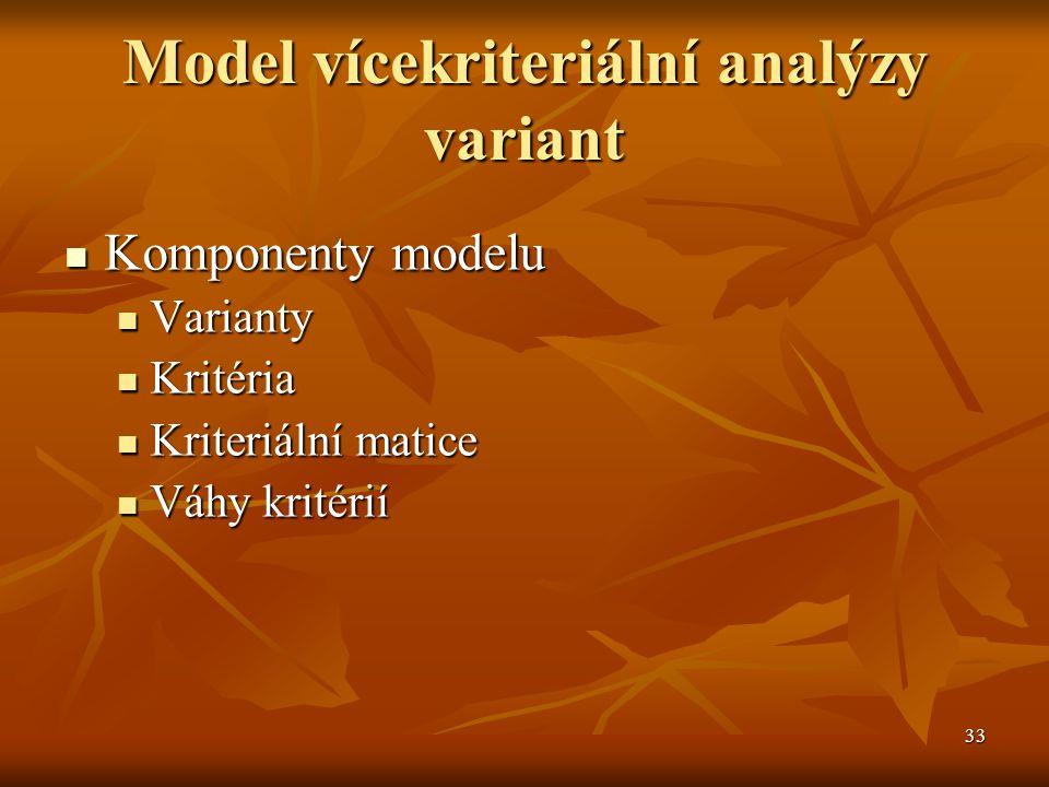 33 Model vícekriteriální analýzy variant Komponenty modelu Komponenty modelu Varianty Varianty Kritéria Kritéria Kriteriální matice Kriteriální matice Váhy kritérií Váhy kritérií