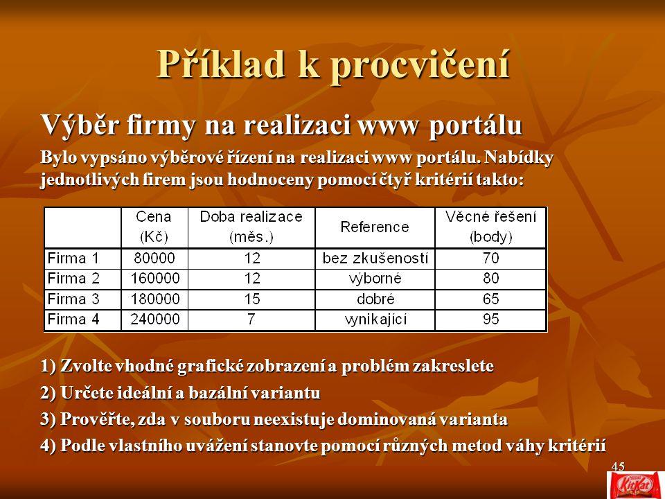 45 Příklad k procvičení Výběr firmy na realizaci www portálu Bylo vypsáno výběrové řízení na realizaci www portálu.