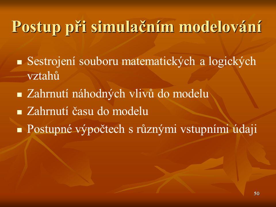 50 Postup při simulačním modelování Sestrojení souboru matematických a logických vztahů Zahrnutí náhodných vlivů do modelu Zahrnutí času do modelu Postupné výpočtech s různými vstupními údaji