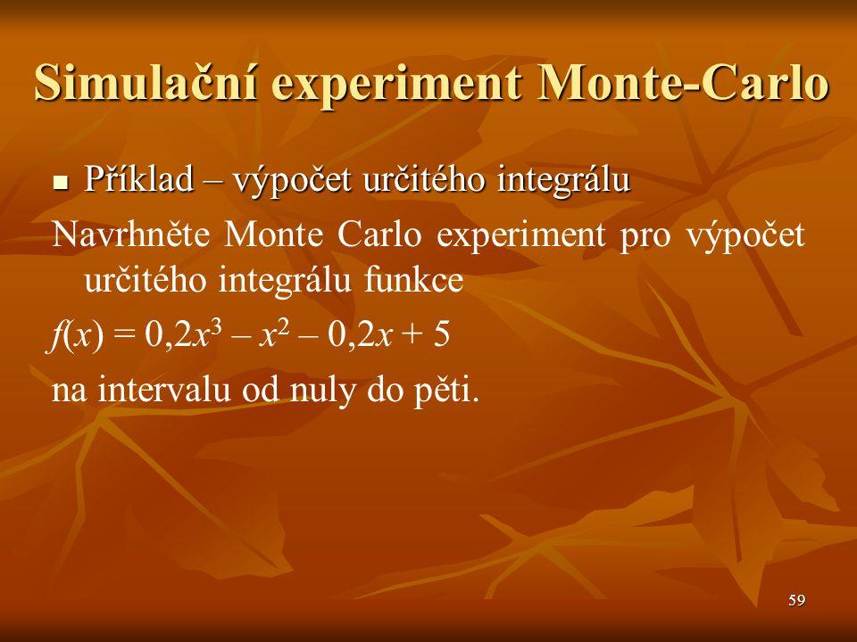 59 Simulační experiment Monte-Carlo Příklad – výpočet určitého integrálu Příklad – výpočet určitého integrálu Navrhněte Monte Carlo experiment pro výpočet určitého integrálu funkce f(x) = 0,2x 3 – x 2 – 0,2x + 5 na intervalu od nuly do pěti.