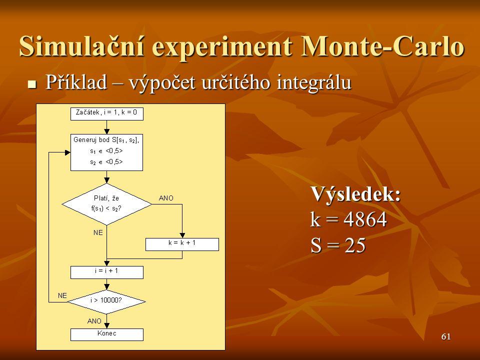 61 Simulační experiment Monte-Carlo Příklad – výpočet určitého integrálu Příklad – výpočet určitého integrálu Výsledek: k = 4864 S = 25