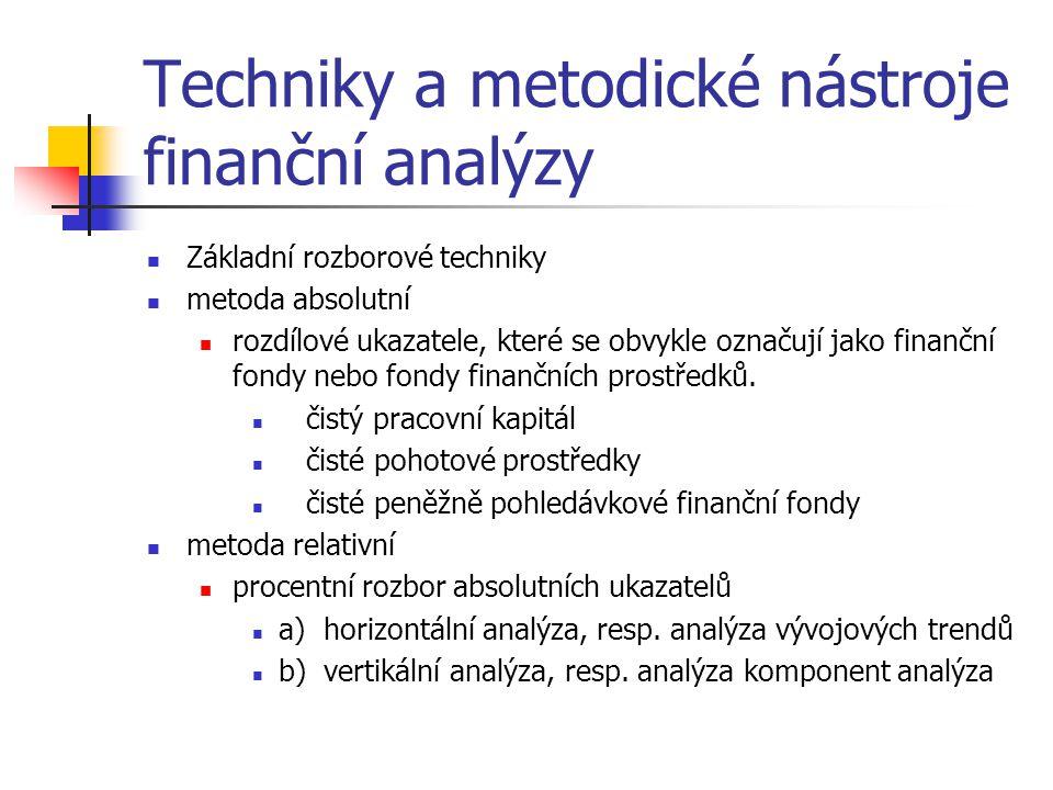 Techniky a metodické nástroje finanční analýzy Základní rozborové techniky metoda absolutní rozdílové ukazatele, které se obvykle označují jako finanční fondy nebo fondy finančních prostředků.