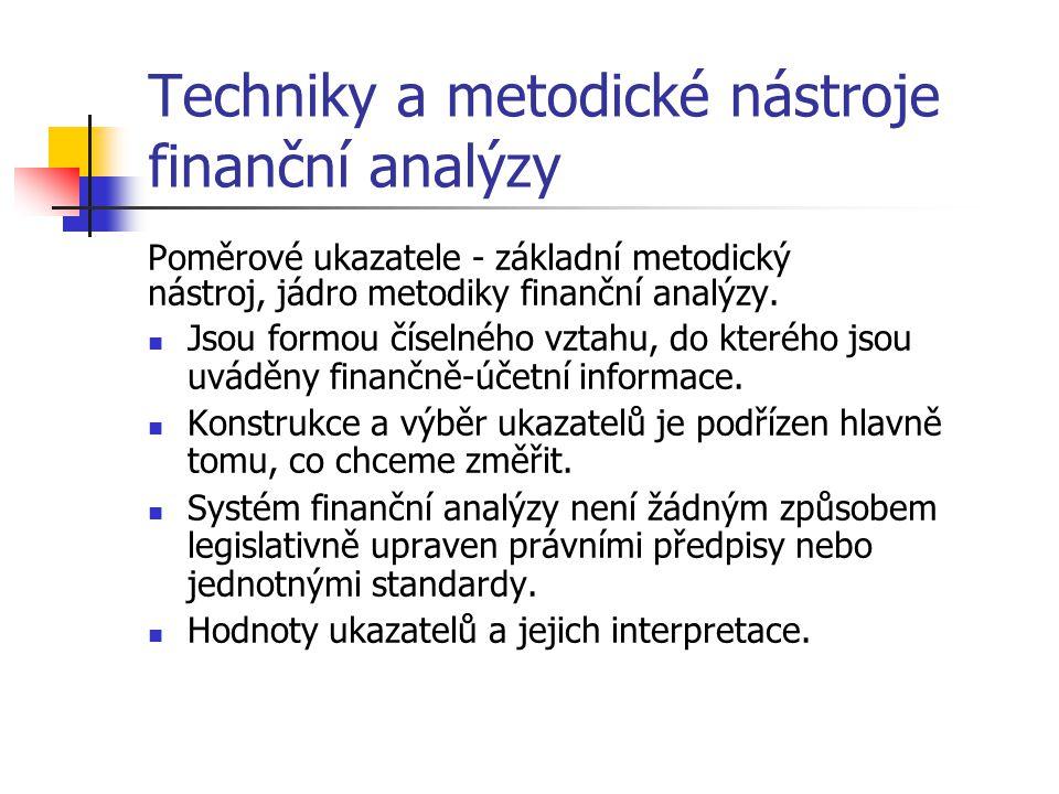 Techniky a metodické nástroje finanční analýzy Poměrové ukazatele - základní metodický nástroj, jádro metodiky finanční analýzy.