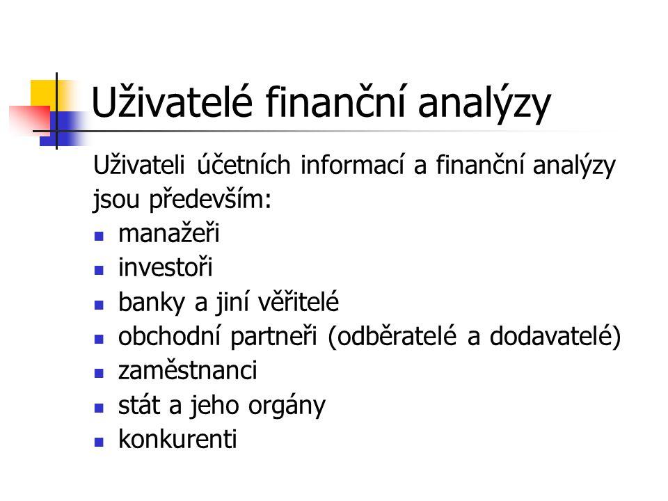Uživatelé finanční analýzy Uživateli účetních informací a finanční analýzy jsou především: manažeři investoři banky a jiní věřitelé obchodní partneři (odběratelé a dodavatelé) zaměstnanci stát a jeho orgány konkurenti