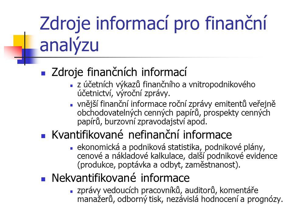 Zdroje informací pro finanční analýzu Zdroje finančních informací z účetních výkazů finančního a vnitropodnikového účetnictví, výroční zprávy.