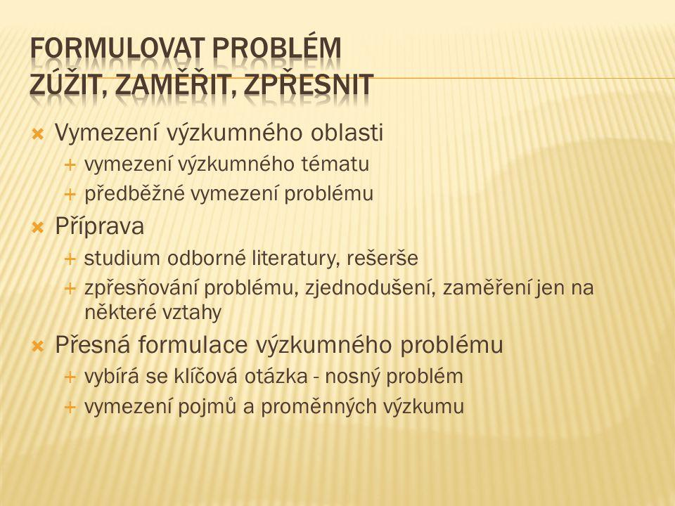  Vymezení výzkumného oblasti  vymezení výzkumného tématu  předběžné vymezení problému  Příprava  studium odborné literatury, rešerše  zpřesňován