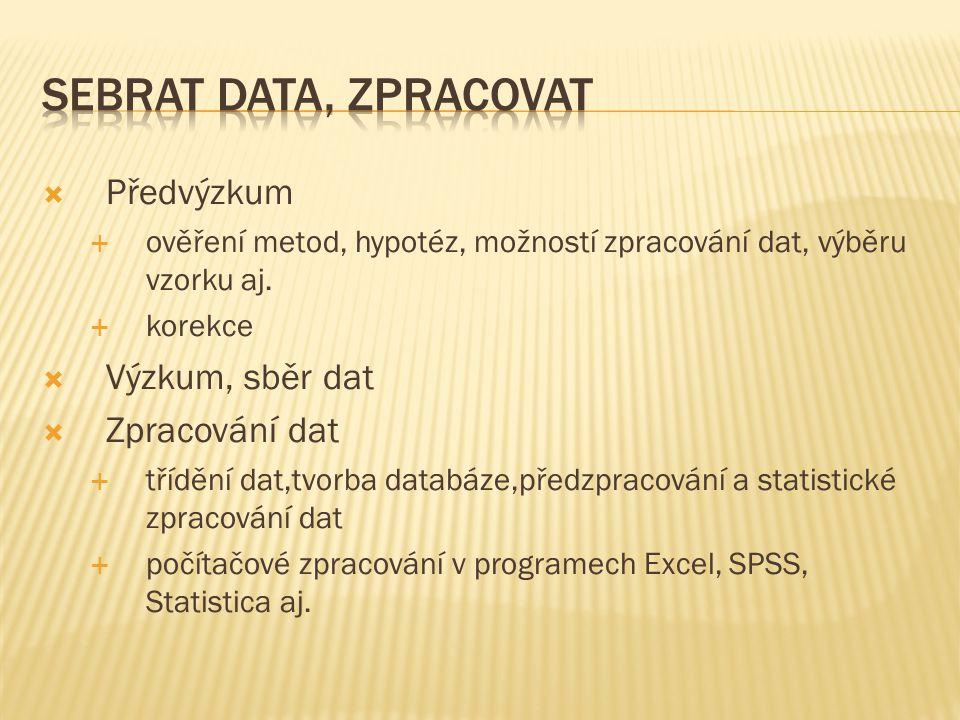  Předvýzkum  ověření metod, hypotéz, možností zpracování dat, výběru vzorku aj.  korekce  Výzkum, sběr dat  Zpracování dat  třídění dat,tvorba d
