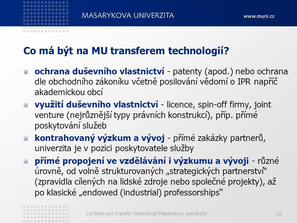 Centrum pro transfer technologií Masarykovy univerzity 10 Co má být na MU transferem technologií.