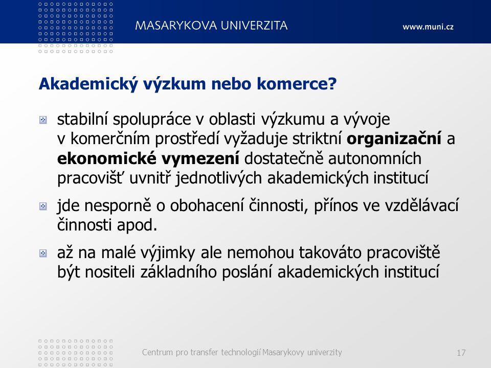 Centrum pro transfer technologií Masarykovy univerzity 17 Akademický výzkum nebo komerce.