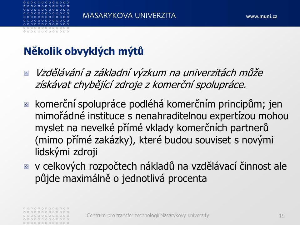 Centrum pro transfer technologií Masarykovy univerzity 19 Několik obvyklých mýtů Vzdělávání a základní výzkum na univerzitách může získávat chybějící zdroje z komerční spolupráce.