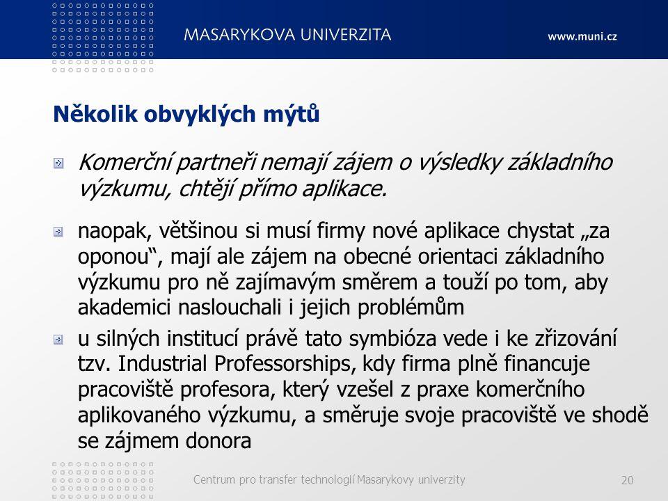 Centrum pro transfer technologií Masarykovy univerzity 20 Několik obvyklých mýtů Komerční partneři nemají zájem o výsledky základního výzkumu, chtějí přímo aplikace.