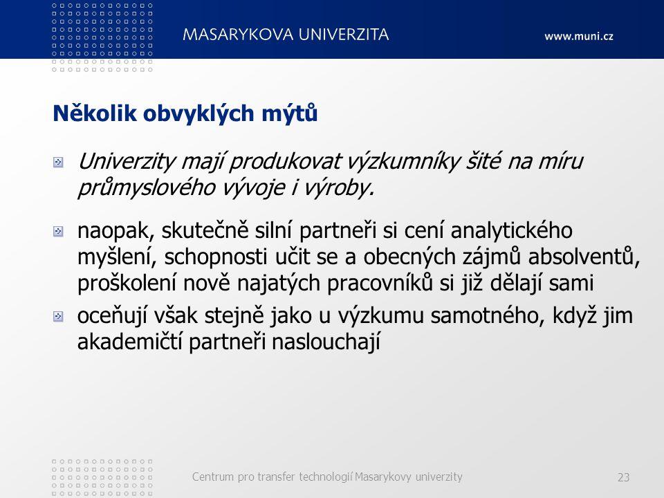 Centrum pro transfer technologií Masarykovy univerzity 23 Několik obvyklých mýtů Univerzity mají produkovat výzkumníky šité na míru průmyslového vývoje i výroby.