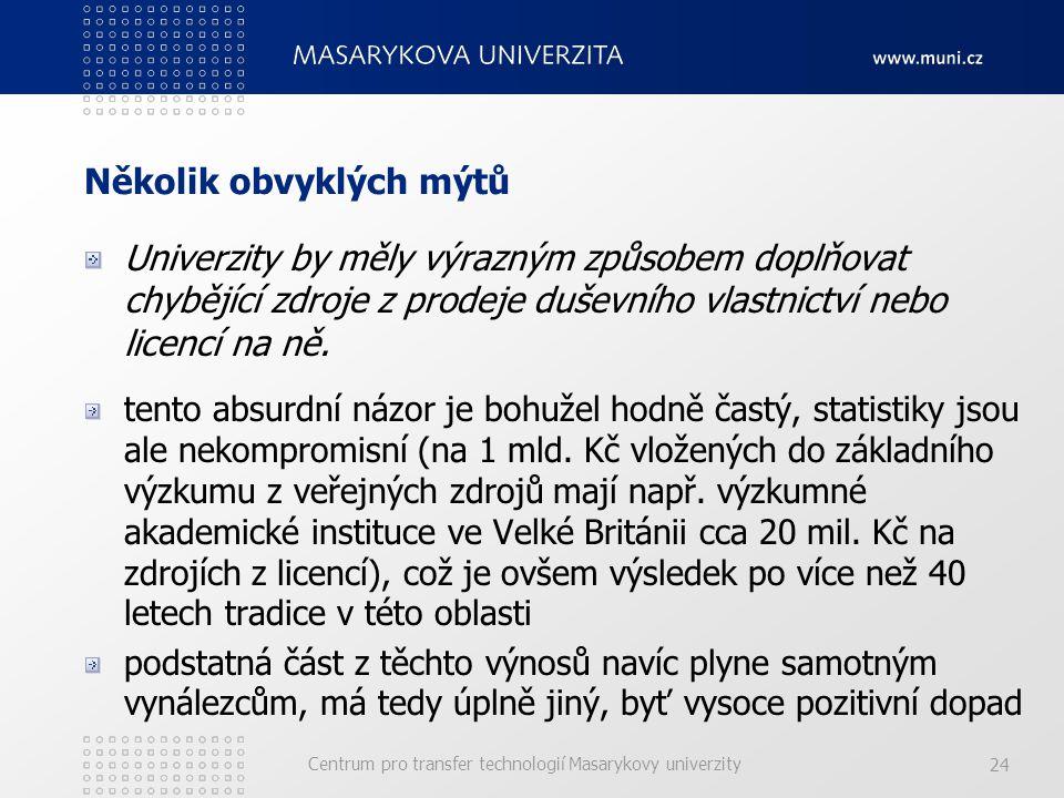 Centrum pro transfer technologií Masarykovy univerzity 24 Několik obvyklých mýtů Univerzity by měly výrazným způsobem doplňovat chybějící zdroje z prodeje duševního vlastnictví nebo licencí na ně.
