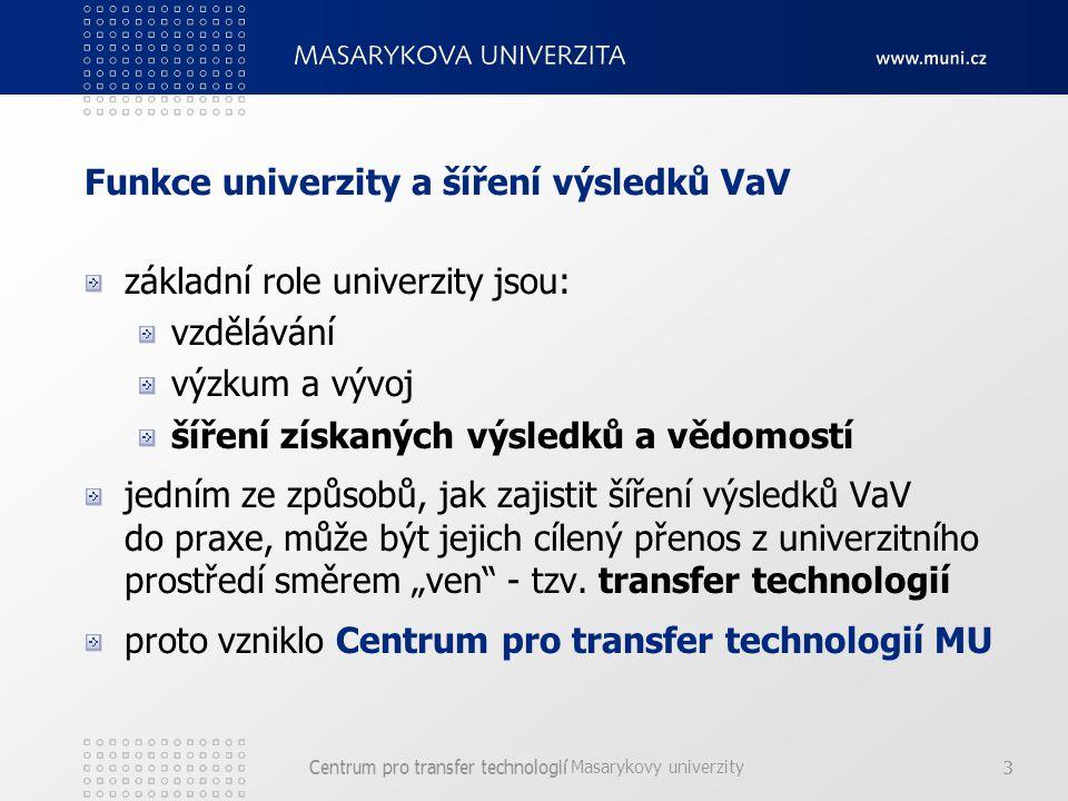 """Centrum pro transfer technologií Masarykovy univerzity 3Centrum pro transfer technologií3 Funkce univerzity a šíření výsledků VaV základní role univerzity jsou: vzdělávání výzkum a vývoj šíření získaných výsledků a vědomostí jedním ze způsobů, jak zajistit šíření výsledků VaV do praxe, může být jejich cílený přenos z univerzitního prostředí směrem """"ven - tzv."""