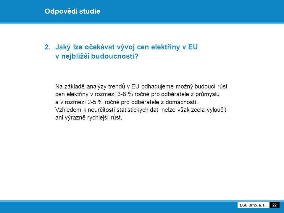 Odpovědi studie 2.Jaký lze očekávat vývoj cen elektřiny v EU v nejbližší budoucnosti? Na základě analýzy trendů v EU odhadujeme možný budoucí růst cen