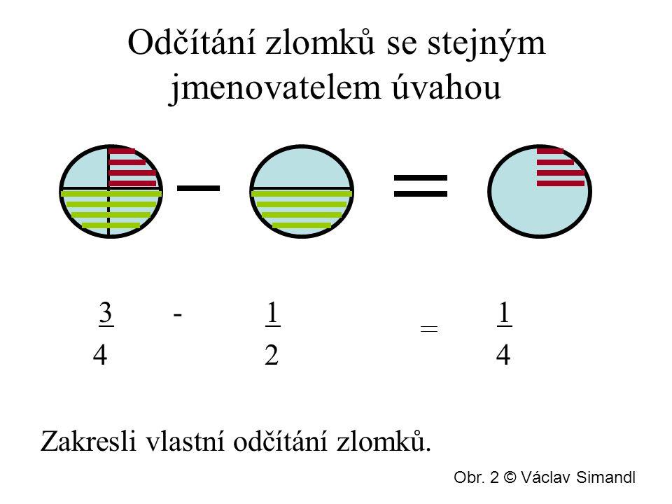 Odčítání zlomků se stejným jmenovatelem úvahou 3 - 1 1 4 2 4 Zakresli vlastní odčítání zlomků.