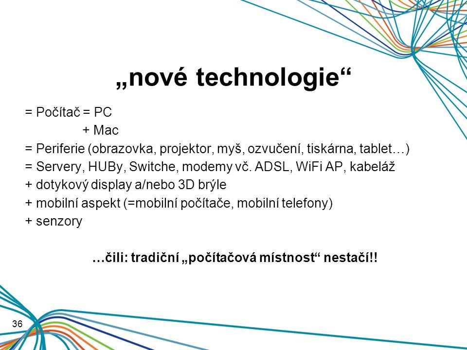 """""""nové technologie = Počítač = PC + Mac = Periferie (obrazovka, projektor, myš, ozvučení, tiskárna, tablet…) = Servery, HUBy, Switche, modemy vč."""