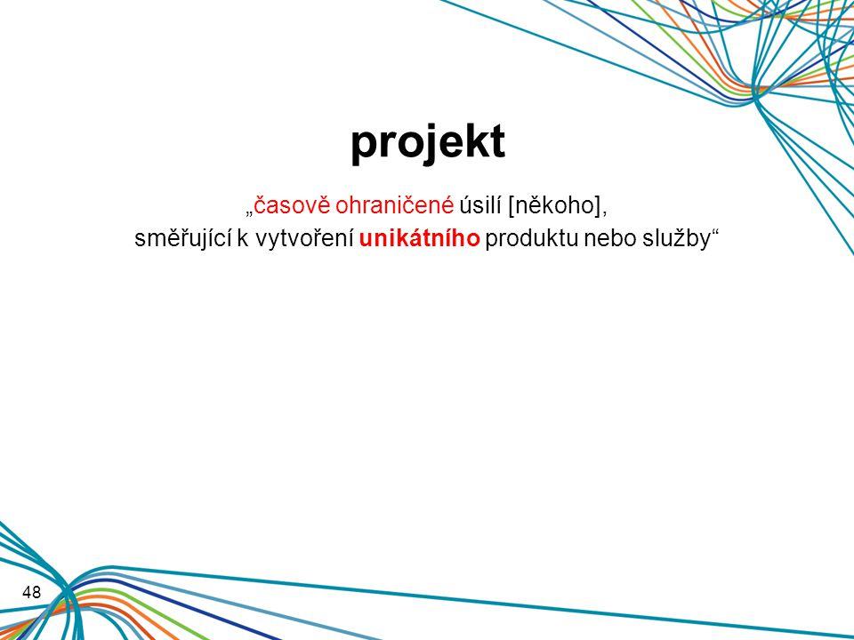 """projekt """"časově ohraničené úsilí [někoho], směřující k vytvoření unikátního produktu nebo služby 48"""