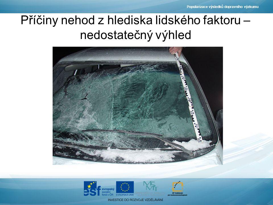 Popularizace výsledků dopravního výzkumu Příčiny nehod z hlediska lidského faktoru – nedostatečný výhled