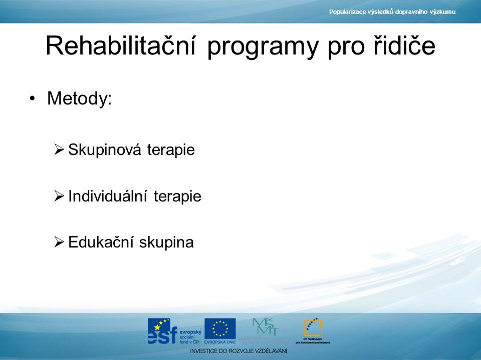 Popularizace výsledků dopravního výzkumu Rehabilitační programy pro řidiče Metody:  Skupinová terapie  Individuální terapie  Edukační skupina