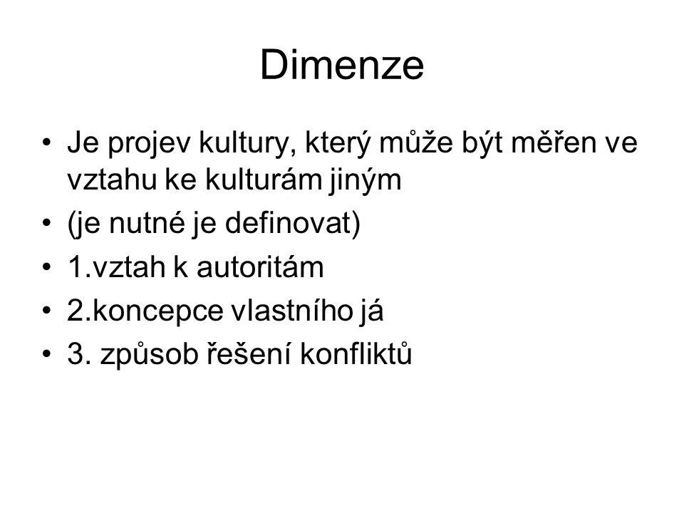 Dimenze Je projev kultury, který může být měřen ve vztahu ke kulturám jiným (je nutné je definovat) 1.vztah k autoritám 2.koncepce vlastního já 3.