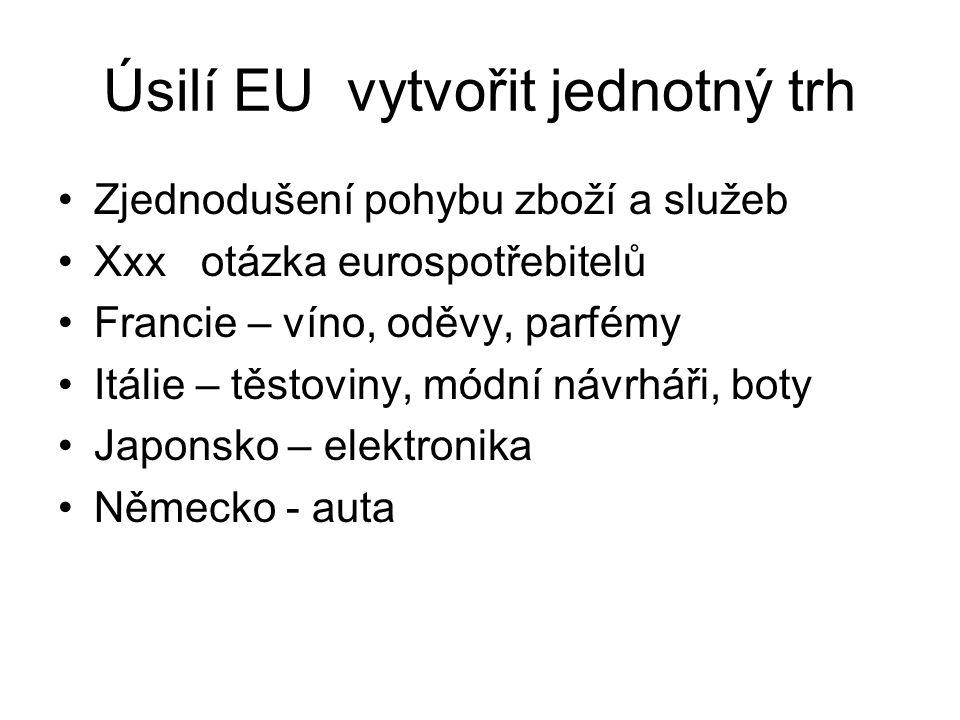 Úsilí EU vytvořit jednotný trh Zjednodušení pohybu zboží a služeb Xxx otázka eurospotřebitelů Francie – víno, oděvy, parfémy Itálie – těstoviny, módní návrháři, boty Japonsko – elektronika Německo - auta
