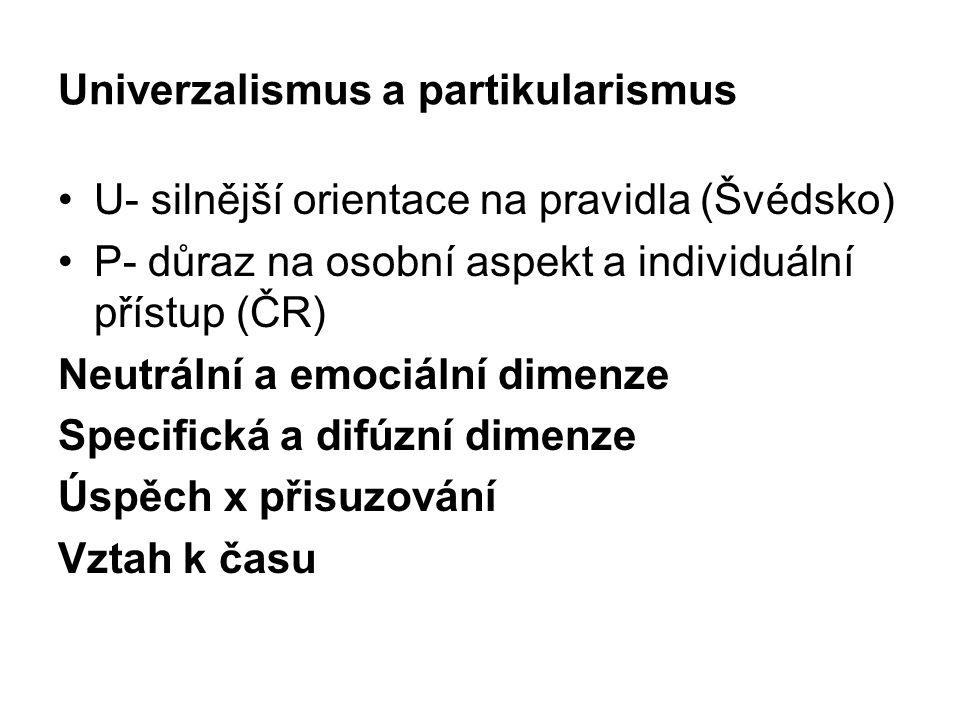 Univerzalismus a partikularismus U- silnější orientace na pravidla (Švédsko) P- důraz na osobní aspekt a individuální přístup (ČR) Neutrální a emociální dimenze Specifická a difúzní dimenze Úspěch x přisuzování Vztah k času