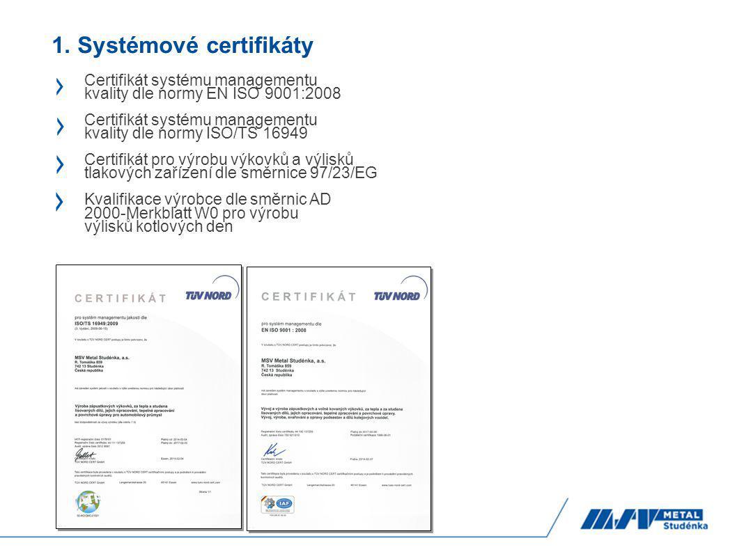 1. Systémové certifikáty Certifikát systému managementu kvality dle normy EN ISO 9001:2008 Certifikát systému managementu kvality dle normy ISO/TS 169