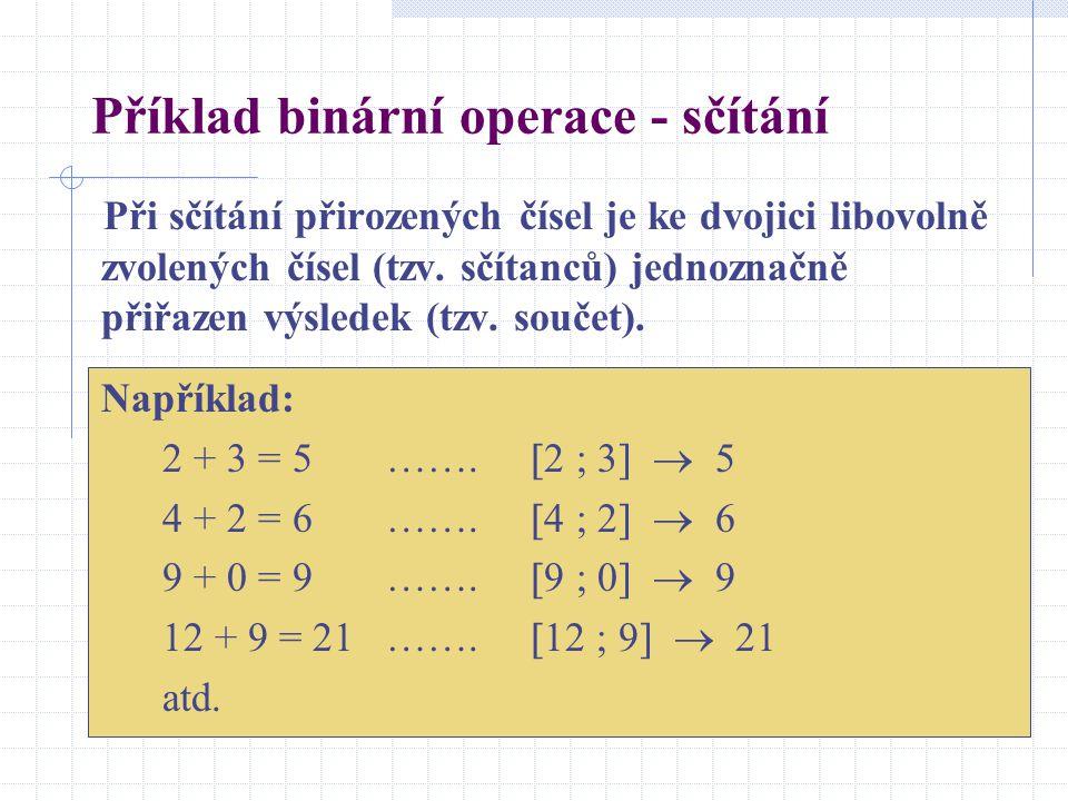 Příklad binární operace - sčítání Při sčítání přirozených čísel je ke dvojici libovolně zvolených čísel (tzv. sčítanců) jednoznačně přiřazen výsledek