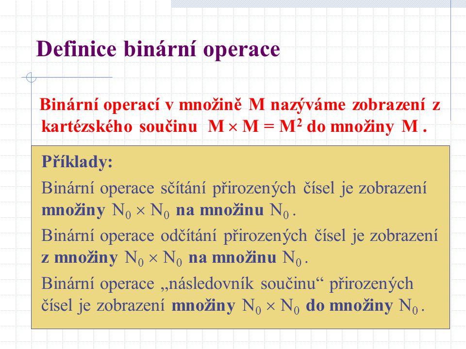 Definice binární operace Binární operací v množině M nazýváme zobrazení z kartézského součinu M  M = M 2 do množiny M. Příklady: Binární operace sčít