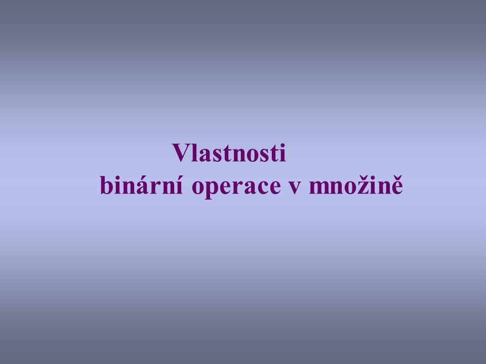 Vlastnosti binární operace v množině