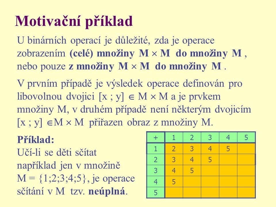 Motivační příklad U binárních operací je důležité, zda je operace zobrazením (celé) množiny M  M do množiny M, nebo pouze z množiny M  M do množiny