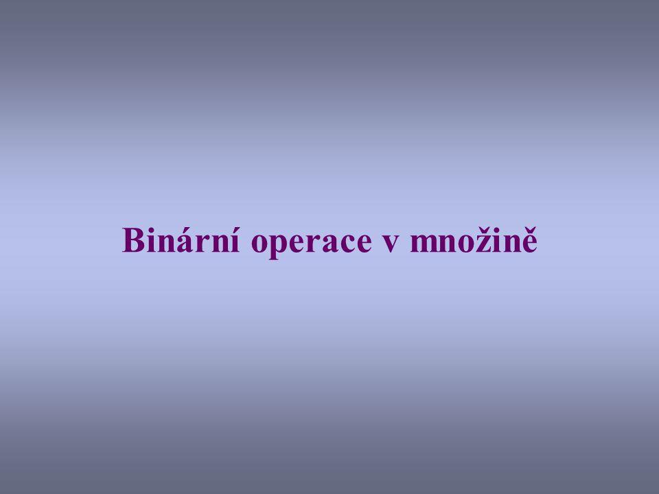 Příklad binární operace - sčítání Při sčítání přirozených čísel je ke dvojici libovolně zvolených čísel (tzv.